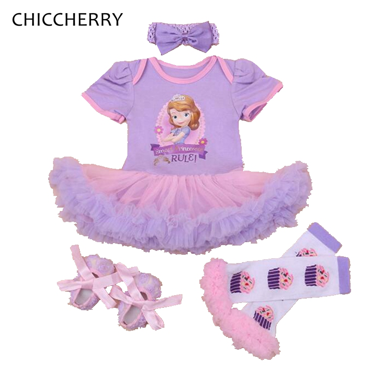 Violet Baby Girls Clothes 4pcs Sofia Baby Lace Dress Headband Crib Shoes Set Roupa Infantis Menina 1st Birthday Party Dress