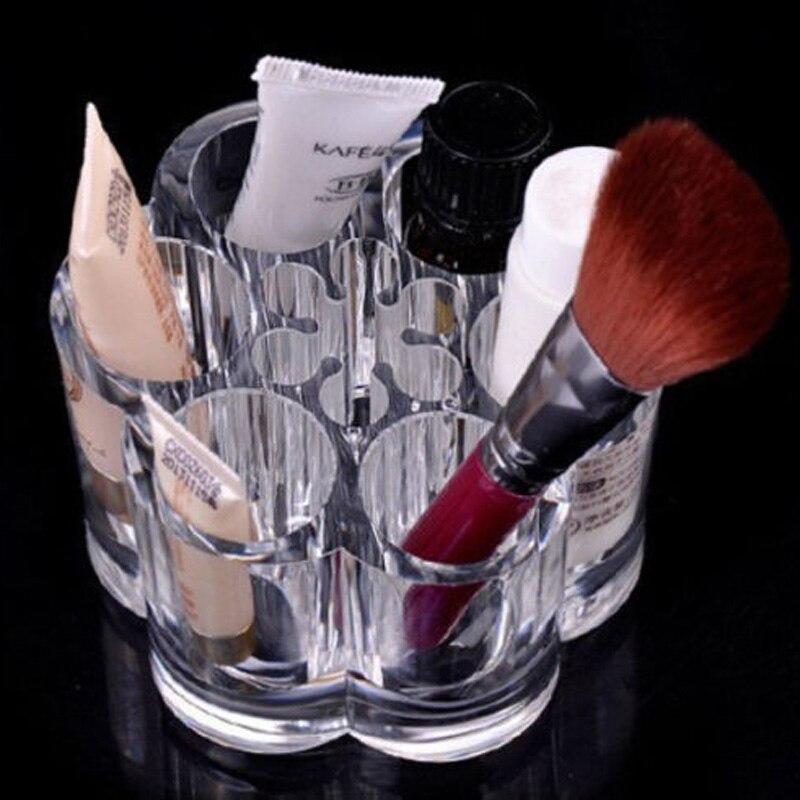 Кристалл составляют контейнер для хранения косметики Ванная комната Организатор украшений акрил Макияж ручка коробки hg99