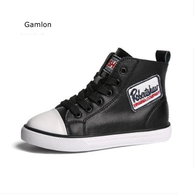 Gamlon Boys Girls Shoes 2018 Spring Autumn New Fashion High-help Children's Trainers Students Letters Boots Genuine Leather