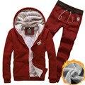 2016 de invierno nuevos hombres sudaderas traje chaqueta cardigan venta caliente moda casual Delgado Encapuchado más grueso chándal de terciopelo hombres gris