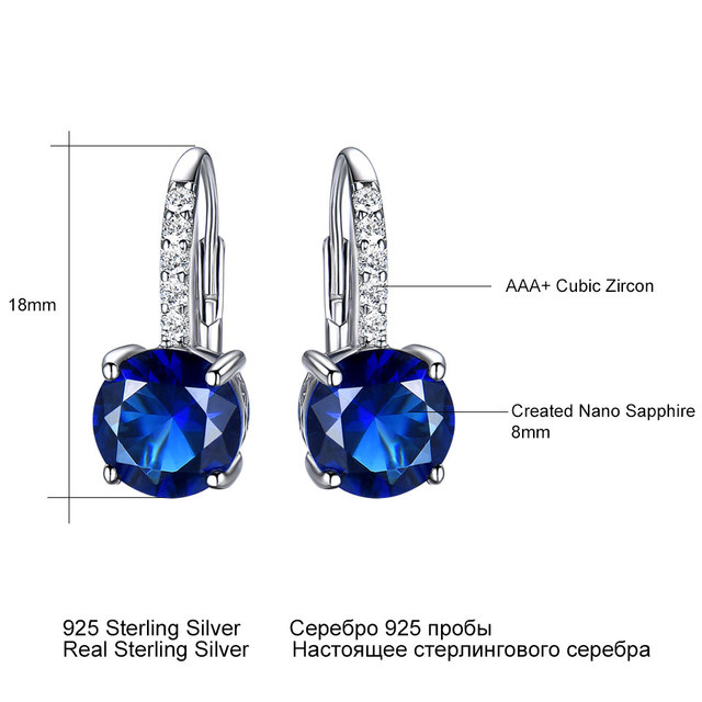 UMCHO Created Blue Sapphire Gemstone Clip Earrings For Women Solid 925 Sterling Silver Wedding Engagement Party Fine Jewelry New