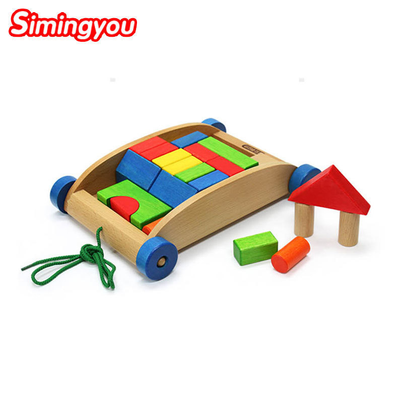 Simingyou Learning Education Wooden Colored Geometric Puzzle Box Hand Pushing Cart Children Toys B40-A-90 Drop Shipping hand grasp knob pegged puzzle wooden quality animals characters letter cognitive board children recognization toys