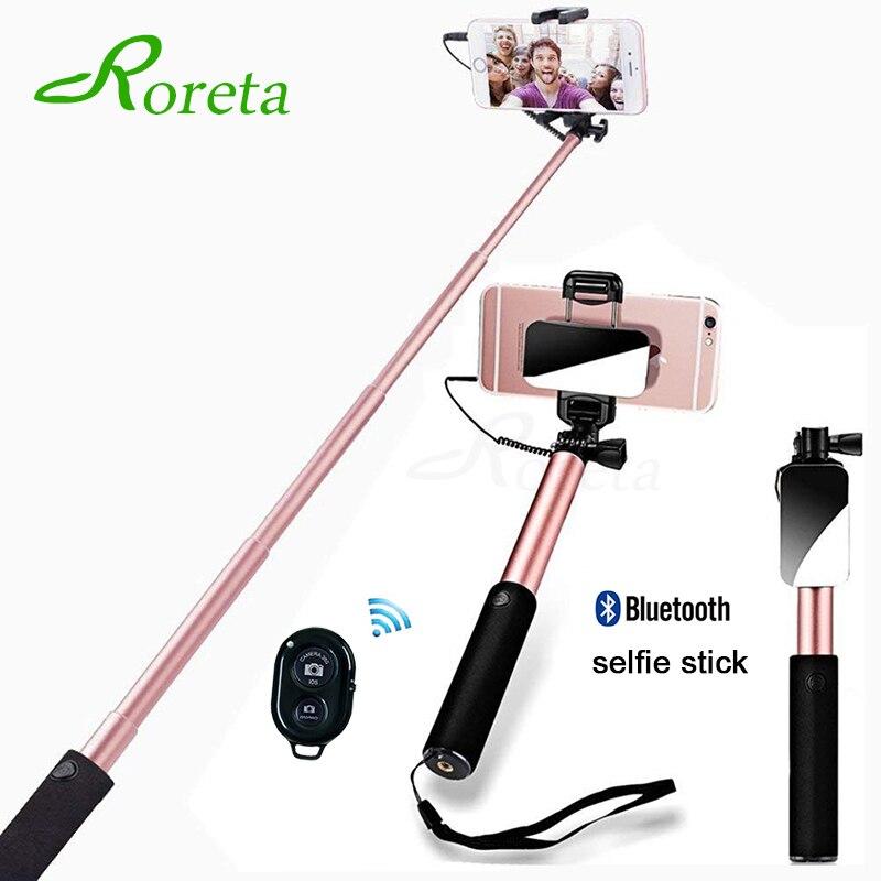 Telefone Selfie Vara Monopé Com espelho Do Bluetooth controle remoto Sem Fio Universal Tripé Dobrável Para iPhone 6 samsung selfie