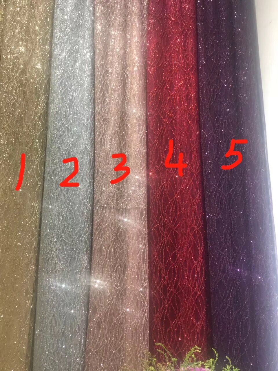 shining David 52009 glued glitter sequins lace fabric african tulle mesh fabric for wedding dress evening