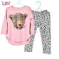 Girls Clothes Set Kids Cartoon Long Sleeved T Shirt Leopard Print Pants Outfit Suit Girls CottonSuit