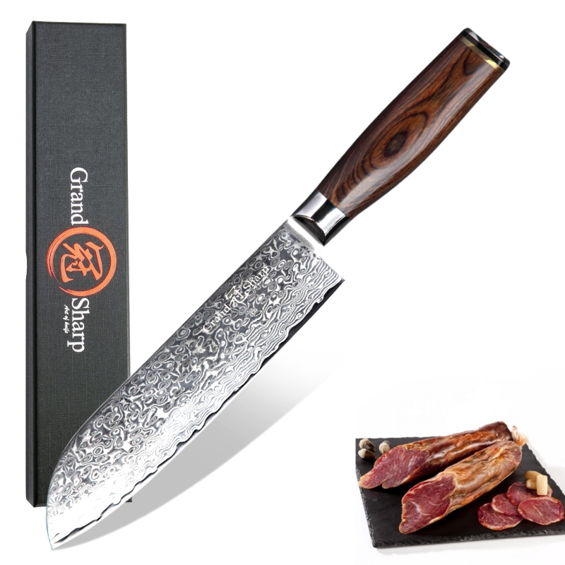 Couteau en acier damas 7 pouces 67 couches VG10 couteau de cuisine japonais damas acier japonais Santoku couteau de Chef Grandsharp