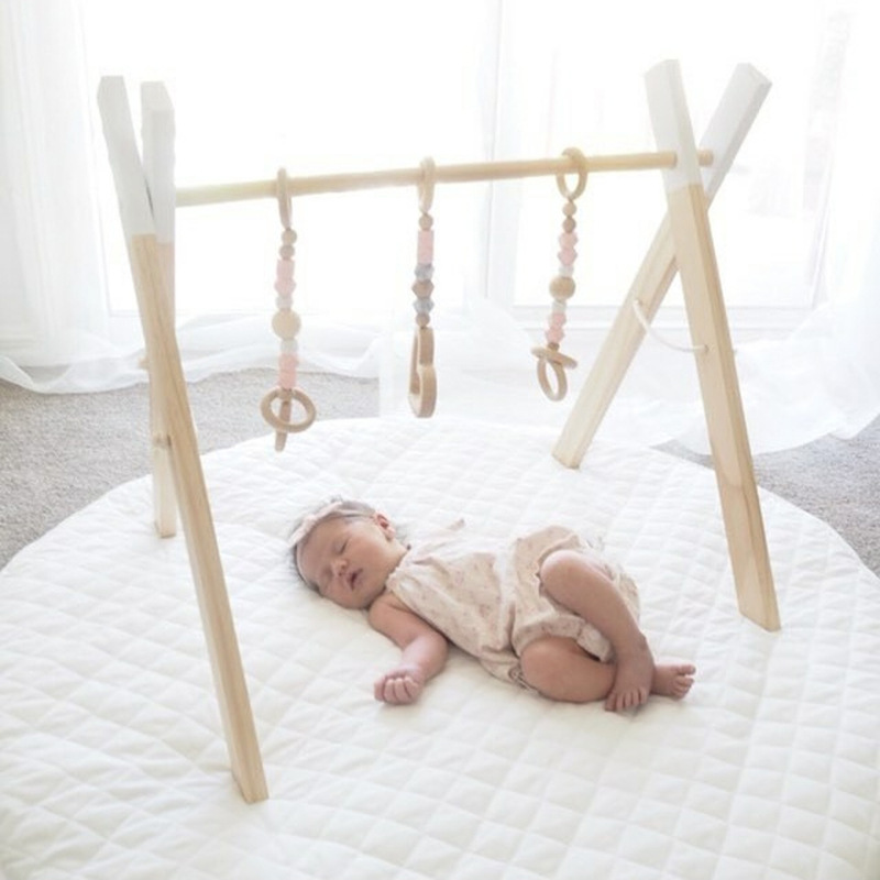 Nordic Baby Room Decor Play Gym Toy Wooden Nursery Sensory Toy Gift Infant Room Clothes Rack