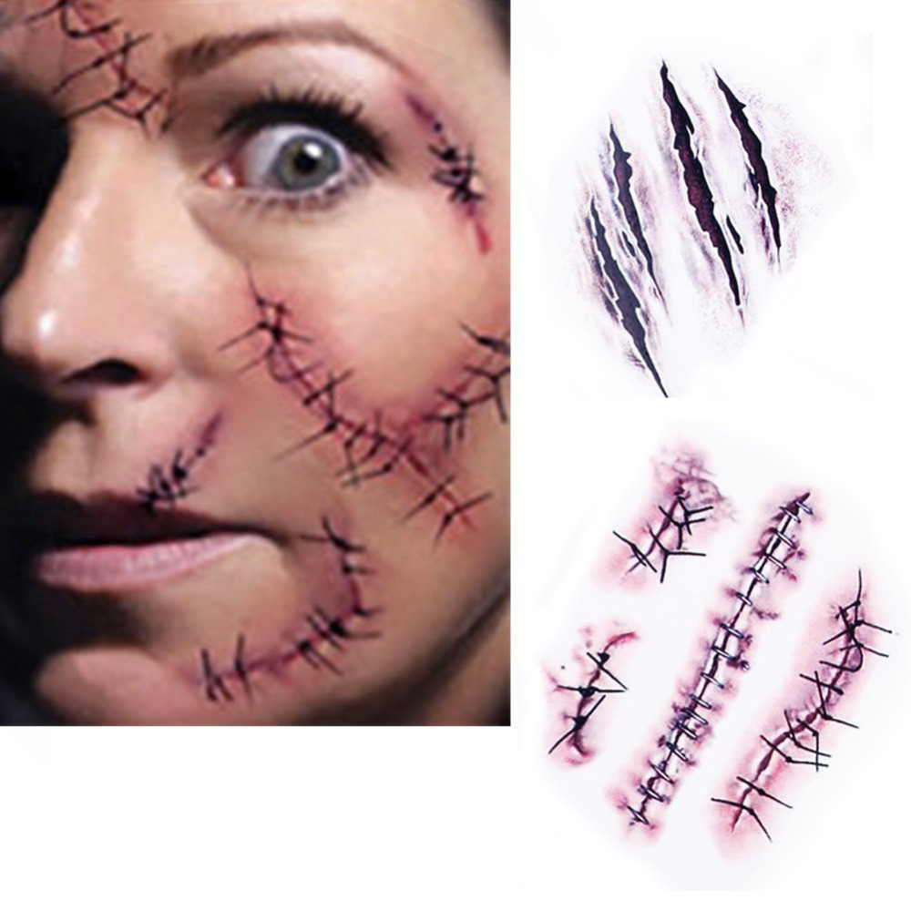 10x Halloween Zombie Scars Tattoos With Fake Scab Bloody Costume Makeup Sticker