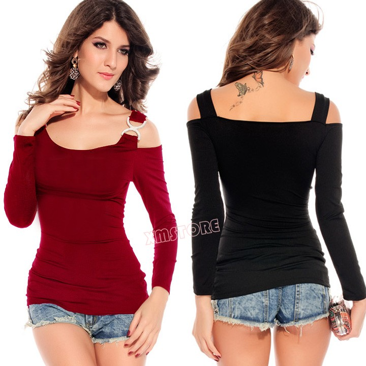 9a48fbfe3b34d Fashion Sexy Women Shirt Club Top T shirt Rhinestone Buckles Long Sleeve  Shirts Clubwear Hollow Shoulder Blouse-in T-Shirts from Women s Clothing on  ...