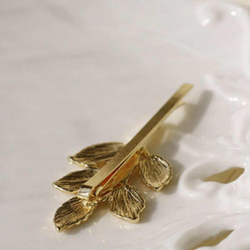 ヴィンテージアテナオリーブブランチ葉花嫁ヘアピンエレガントなゴールドシルバーヘアバレッタ女性女の子ヘアジュエリー