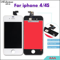 Mobymax 30PCS AAA LCD display For iPhone 4 4S Ecran Patalla Front Glass Touch Screen Digitizer Assembly Replacement Black/White