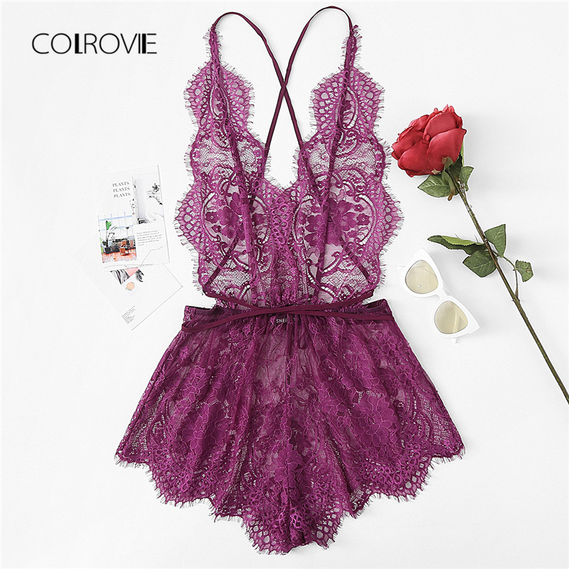 COLROVIE Crisscross Open Back Eyelash Lace Teddy Summer New Purple Lace Criss Cross Sexy Nightwear Woman Solid Sleepwear