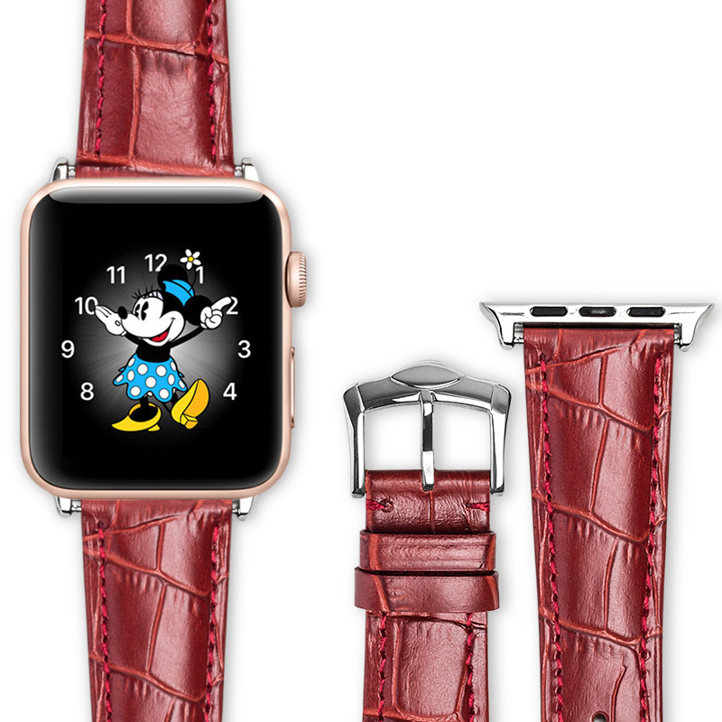 QIALINO Crocodile Grain Women Genuine Leather Watch Strap Band for Apple for iWatch Series 3 Series 2 Series 1 42/38mm Watchband relogio strap black and coffee genuine leather alligator crocodile grain watch band