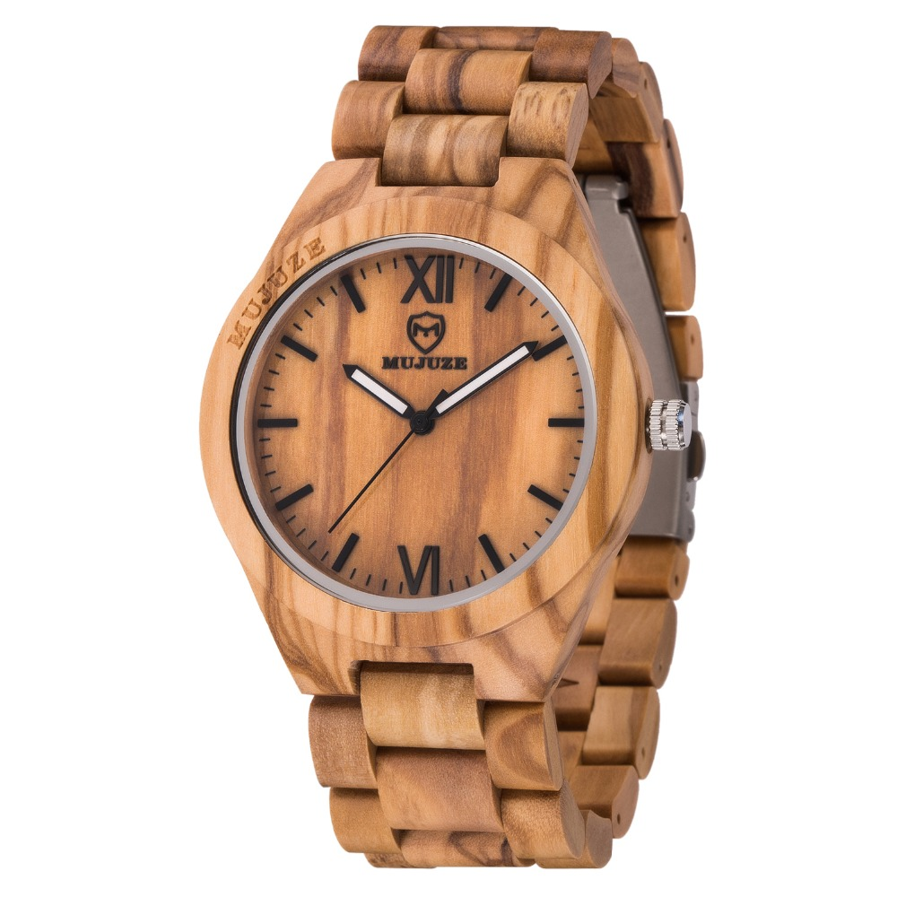 2018 Fashion New Olive Wood Watch for Men Quartz Wrist Watches Classic Men Watch Brand Luxury Casual Wooden Watch Drop Shipping leeev newest wood watch men ebony simple display date quartz watches brand fashion role luxury wooden wristwatches drop shipping