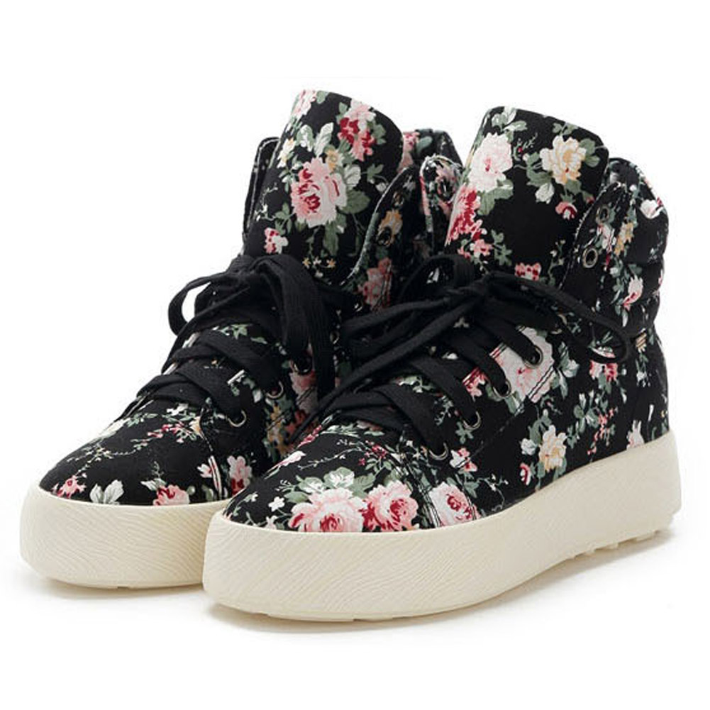 Vulcanisation Automne Étudiant Chaussures Casual Noir Printemps En Florale Baskets Haut Dames blanc Dentelle Augmenter Femmes Hauteur Toile 6SxCqCH