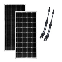 Monocrystalline Solar Panel 12v 100w 2 Pcs /Lot Module 200W 24v IN 1 Connector Y Style Junction Kit Motorhome
