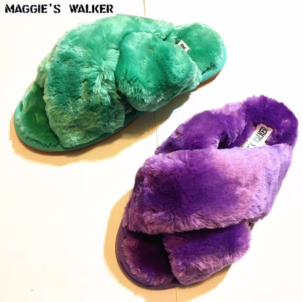 Maggie s Walker Women Fashion Faux Hair Slippers Candy Colored Flat heeled Plush Winter and Autumn