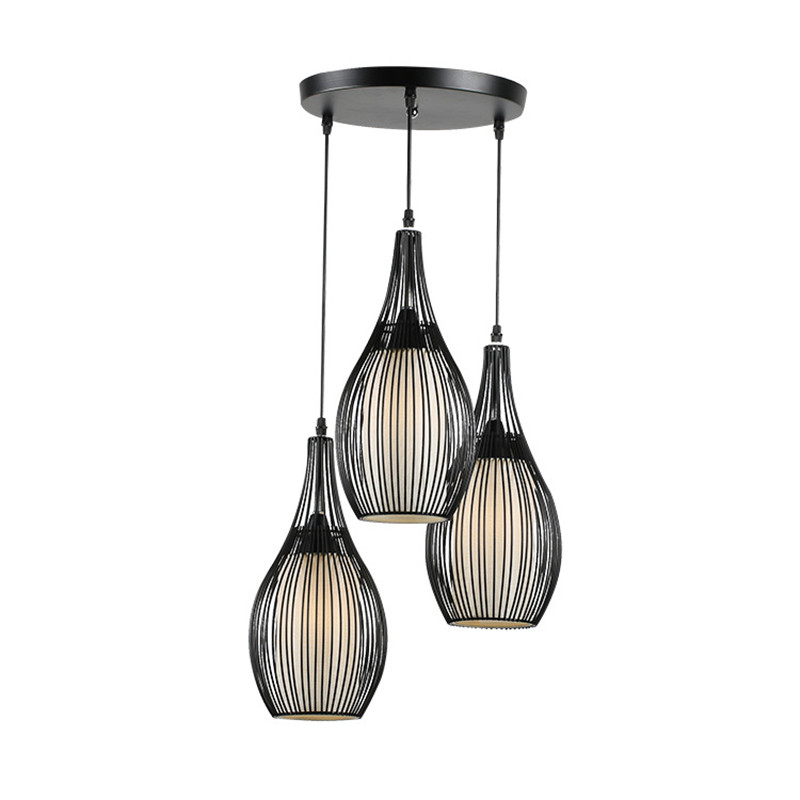 Retro restaurant pendant lamp 3 lamps fashion personality creative gourd wrought iron living room bar Pendant