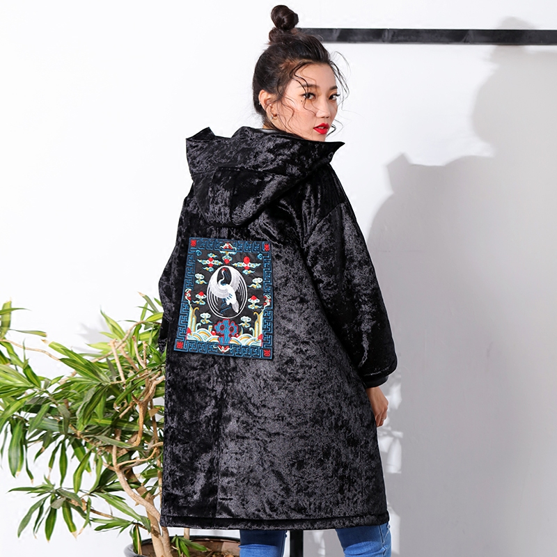 AIGYPTOS--XIYOU]Original Design Winter Women Chinese Style Cranes Embroidery Casual Loose Berber Fleece Velour Vintage Long Coat 100 super cute little embroidery chinese embroidery handmade art design book