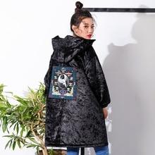 AIGYPTOS–XIYOU]Original Design Winter Women Chinese Style Cranes Embroidery Casual Loose Berber Fleece Velour Vintage Long Coat