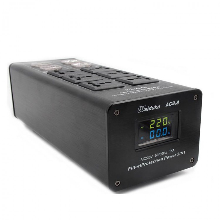 Weiduka AC8.8 3000W 15A Advanced Audio Power Purifier Filter AC Power Socket Dual LED Display -Black ac8 8 3000w 15a audio power purifier filter ac power socket