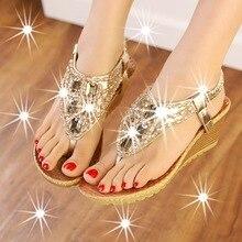 2016 Summer Bling Bling Rhinestone Wedge Heel Womens Thong Flip Flops Sandals Comfortable Summer Beach Shoes