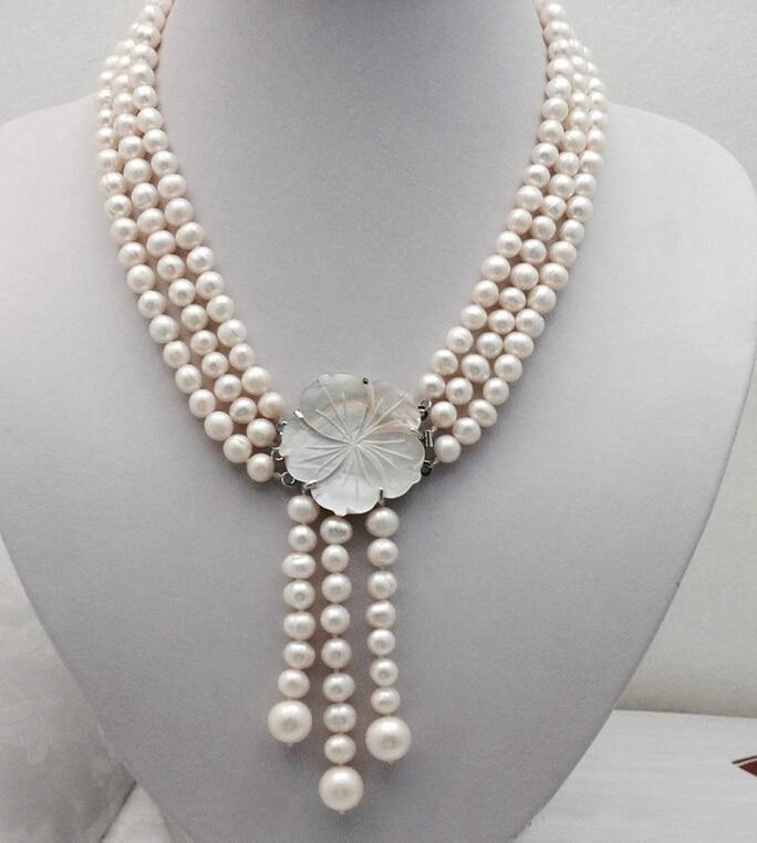 0001211 partie 3 rangées fleur 7-8mm fermoir blanc perle collier AAA