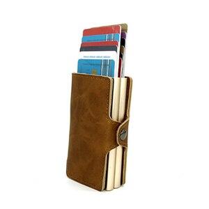 Image 5 - BISI GORO 2019 Men And Women 2 Metal Credit Card Holder Aluminium RFID Blocking PU Wallet Hasp Mini Vintage Wallet Hold 14 Cards