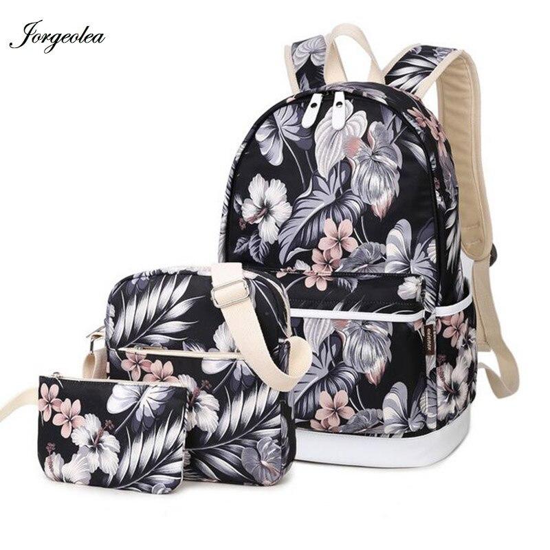 Jorgeolea Beautiful Flowers Pattern Women Backpack For Teenage Girls School Bags Canvas Fashion Backpacks