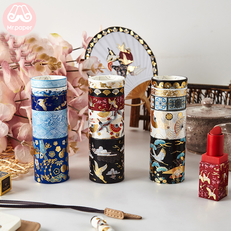 Mr Paper 5pcs/set 16 Designs Gold/Sliver Stamping Chinoiserie Crane Sakura Washi Tape Scrapbooking Planner Deco Masking Tapes