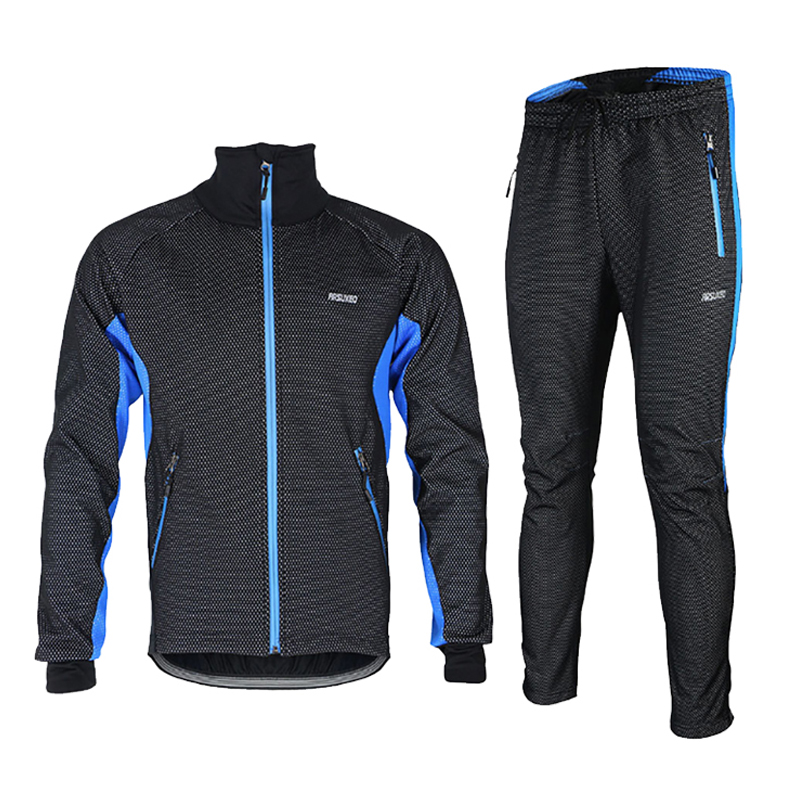 Autumn Winter Cycling Jersey Jacket Fleece Thermal Windproof Sleeve Jersey Pants Ropa Ciclismo MTB Bike Bicycle Cycling Sets купить дешево онлайн