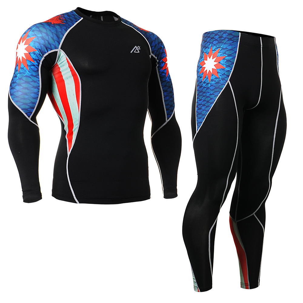 Brand Genuine 4 Way Stretch Mens Sport Suit Compression Tights Running Pants + Long Sleeve Tshirt Captain America C2L_P2L_B37