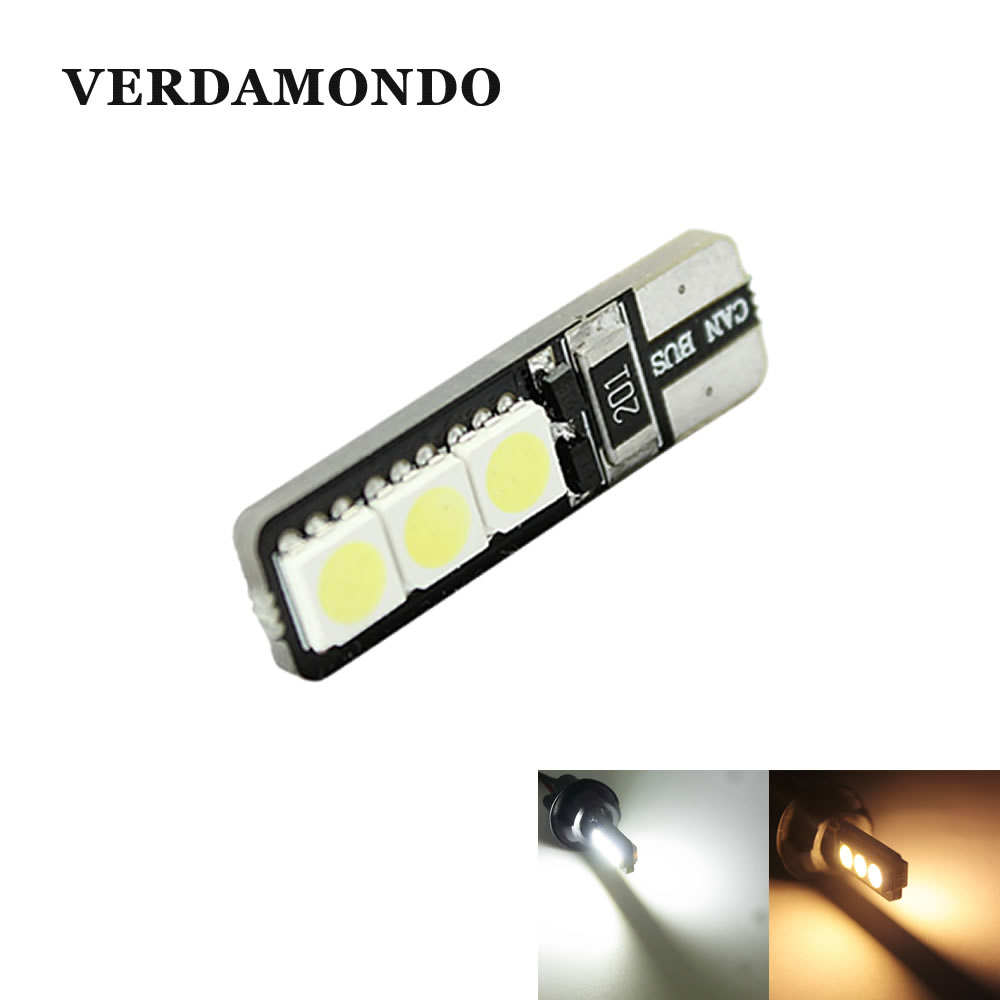 T10 W5W 194 168  LED Bright Double No Error Canbus 6 SMD 5050 LED Car Interior Bulbs Light Parking Width Lamps Warm White