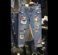 Plus Size Jeans Women 2018 Fashion Korean Personality Hole Sequins Large Harlem Jeans Students Nine point Denim Pants Trousers