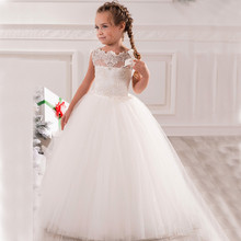 2017 Boat Neck Lace Ball Gown Princess Flower Girl Dresses for Child graduation gowns children