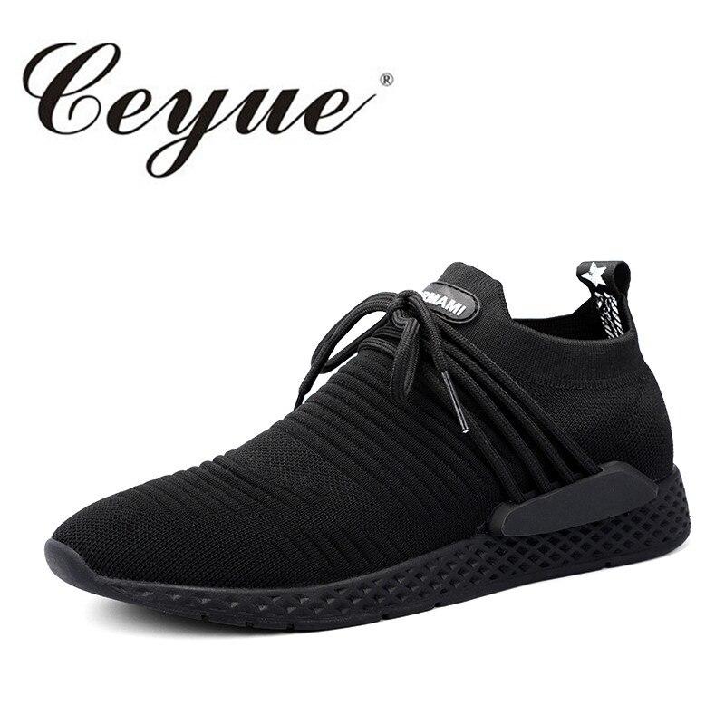Ceyue Кроссовки Спорт Для мужчин дышащая летать ткать Фитнес Для мужчин Обувь для прогулок новые эластичные Кружево Up Race кроссовки Спортивная... ...
