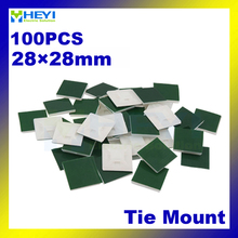 Factory direct sale 100pcs/pack Self Adhesive Cable Tie Mount base holder 28*28mm cable tie mount