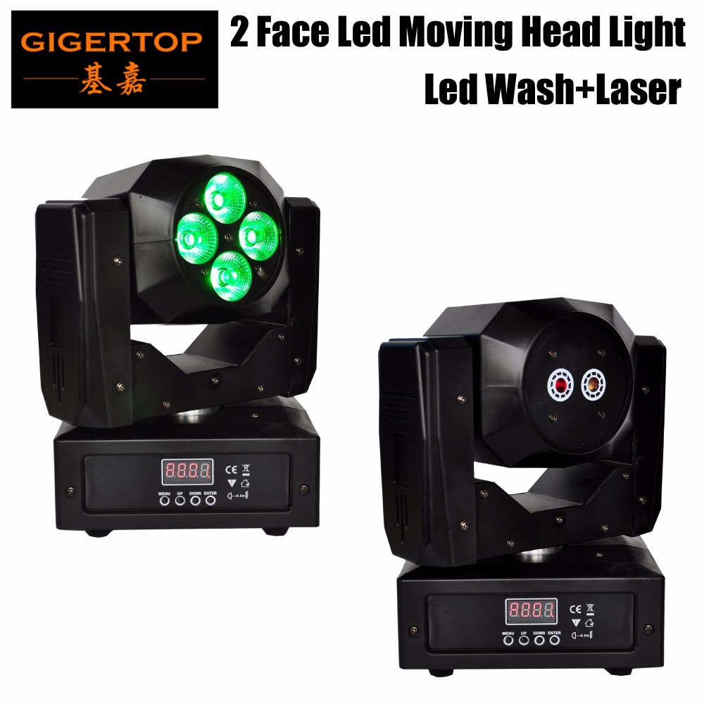 Free Shipping 4pcs*15W RBGWA 5IN1 LED Double Side Moving Head Wash Light With Green Red Laser Beam Effect 13CH/19CH DMX Control