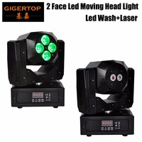 Frete Grátis 4 pcs * 15 W 5IN1 RBGWA LED Double Side cabeça em movimento Wash Efeito de luz com Feixe de Laser Vermelho Verde 13CH/19CH DMX controle