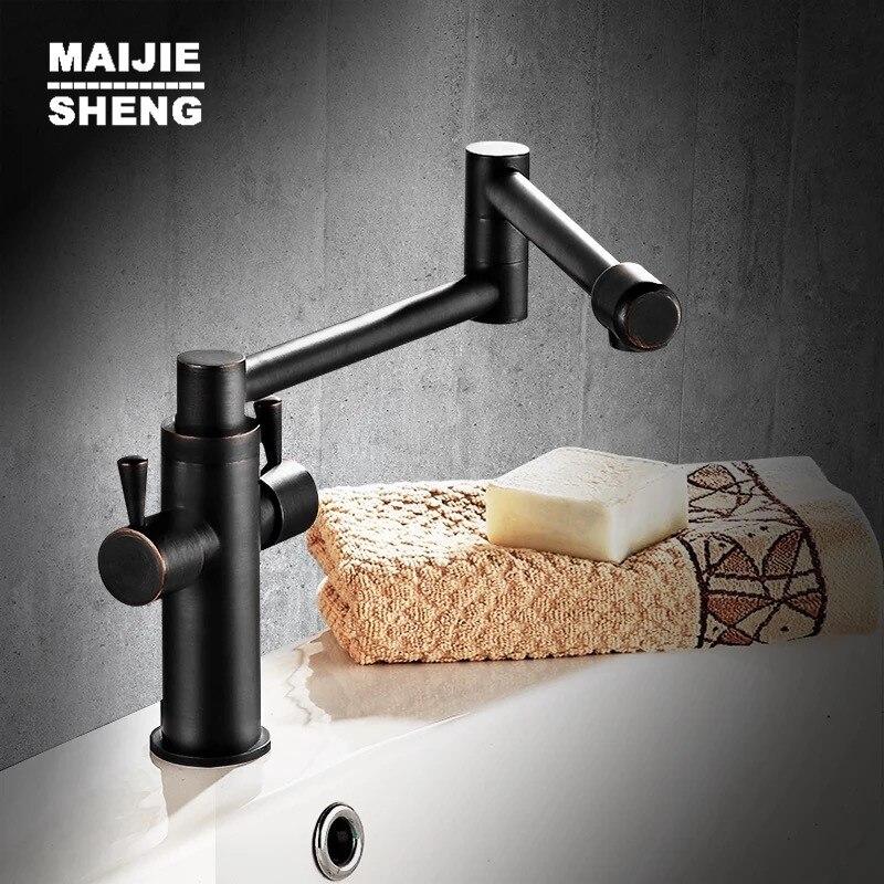 Mélangeur de cuisine pliant robinet de cuisine noir robinet de cuisine noir 360 ronating cuisine évier mélangeur robinet évier noir MJS663