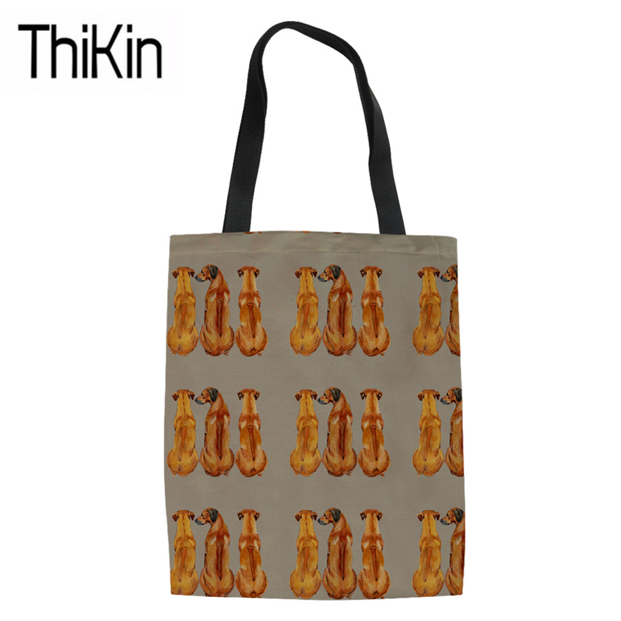 THIKIN Rhodesan Ridgeback Print Canvas Tote Bags For Teenagers Cute Animals Book Bags Customize Ladies Foldable Shopping Bags
