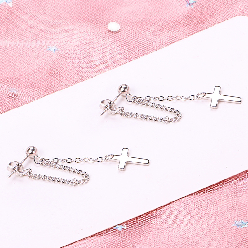 925 Solid Sterling Silver Cross Tassel Charm Drop Earrings for Women Jewelry Party Accessories pendientes Brincos eh1034 6