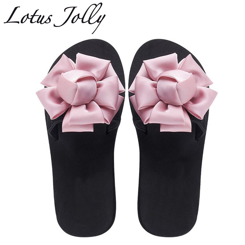 2018 Summer Women Slippers Slides Rose Flower Beach Slippers Platform Sandals Women Shoes Slip On Flip Flops Zapatillas Mujer women slippers summer beach shoes rivets flip flops women slippers sexy platform sandals women s non slip shoes plus size 36 42