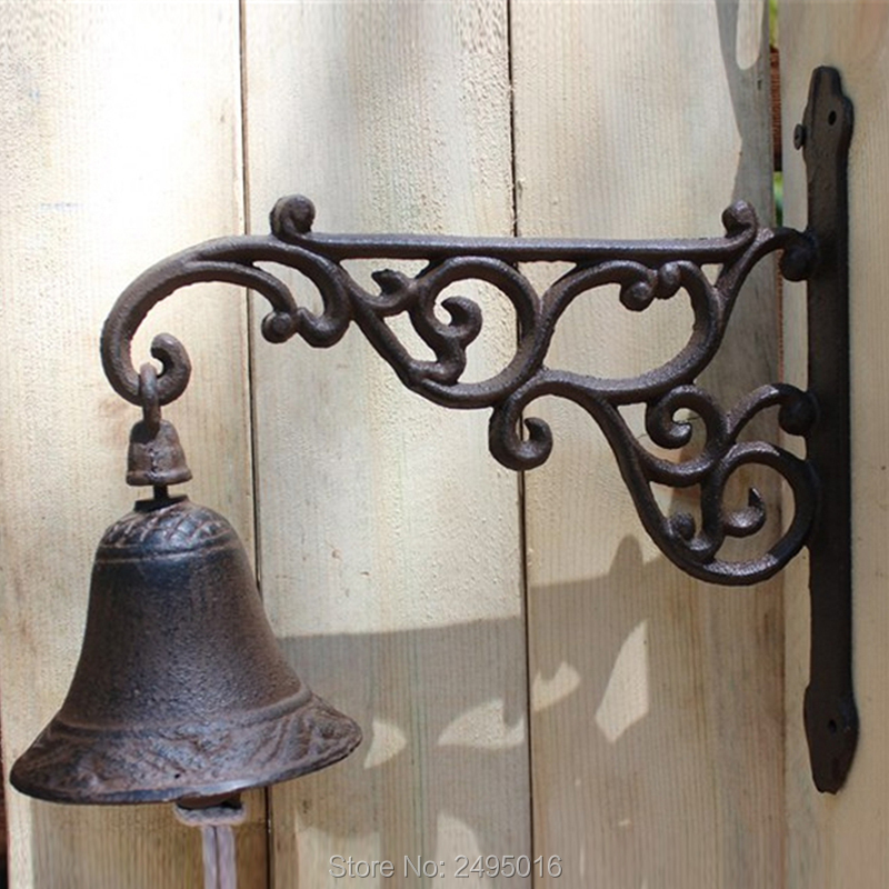 European Antique Vintage Rustic Flower Fairy Iron Welcome Door Bell Casting Store Home Decorations Gift
