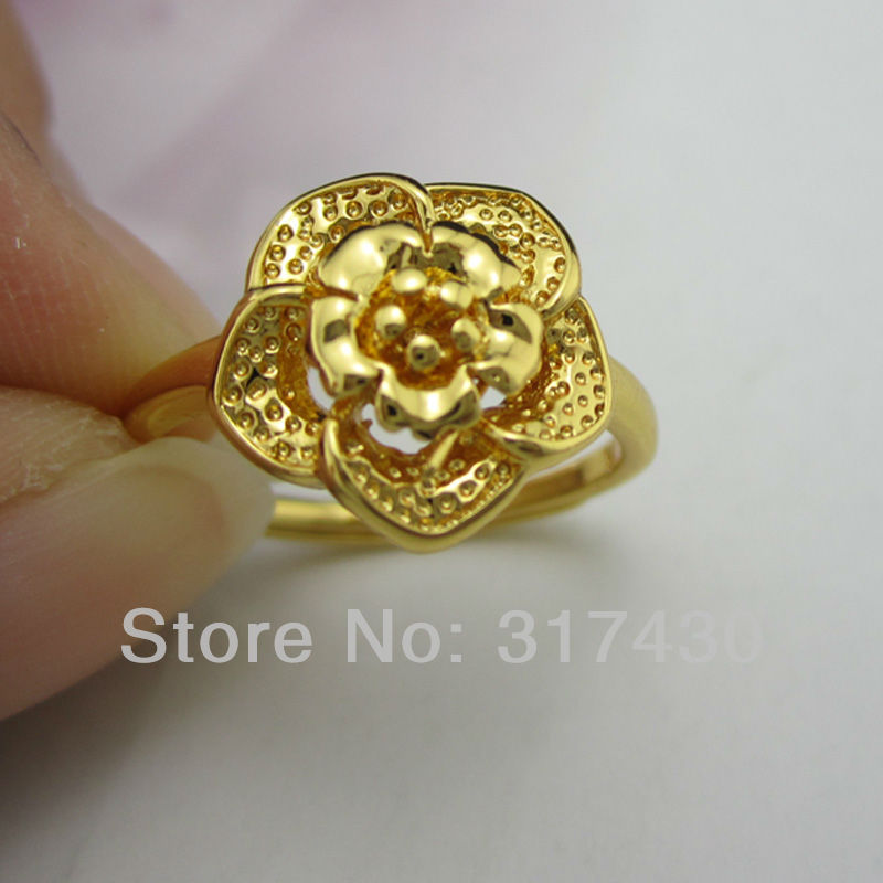 Cute 18k 18ct yellow gold filled womens flower design ring cute 18k 18ct yellow gold filled womens flower design ring adjustable girls ring free shipping size 7 new arrival on sale in rings from jewelry mightylinksfo