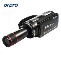 Ordro видеокамера HDV Z18 Plus 1080 P FHD Цифровая видеокамера запись с 12X телеконвертером дистанционное управление, разъем HDMI выход