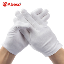 ABESO 2 pairs/lot White 100% Cotton Ceremonial gloves for male female Serving / Waiters/drivers/Jewelry Gloves A6001