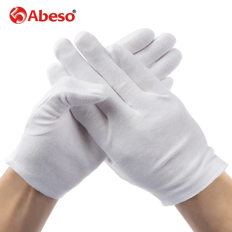 ABESO 2 pairs lot male female White 100 Cotton Gloves Serving Waiters drivers Gloves Jewelry Silver