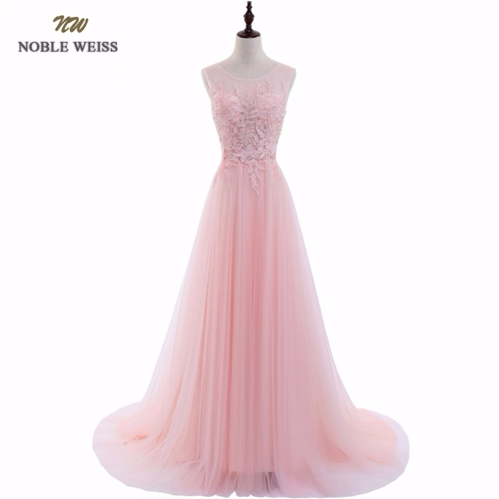 NOBLE WEISS Sexy O-Neck A-Line Sweep Train Tulle Lace Evening Dress Bare Back Cheap Prom Dresses Robe De Soiree Party Dress(China)