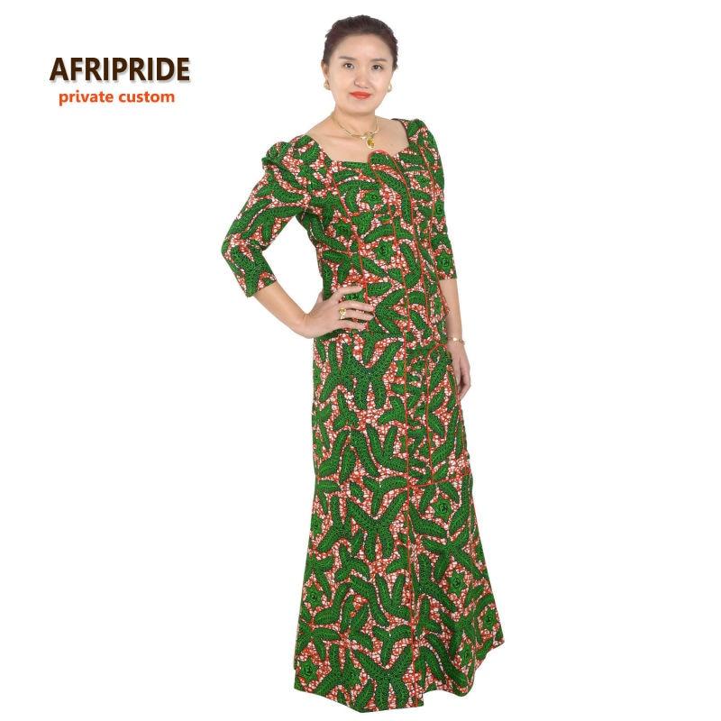 Aafrika 2-osaline komplekt naistele AFRIPRIDE ankara print kolmveerandhülss top + pahkluu pikkuse seelik vabaaja naiste puuvillakomplekt A632609